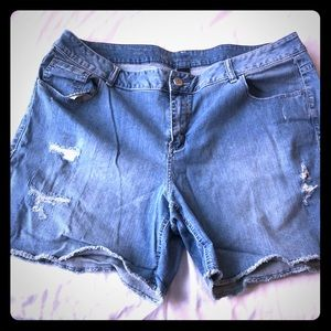 New Listing! NWOT destructed, raw hem jean shorts